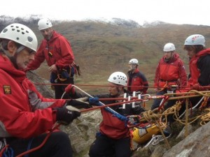 Team performing a technical rescue exercise