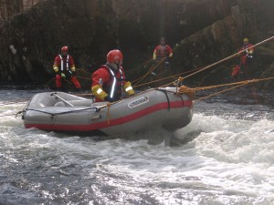 Rescue raft training